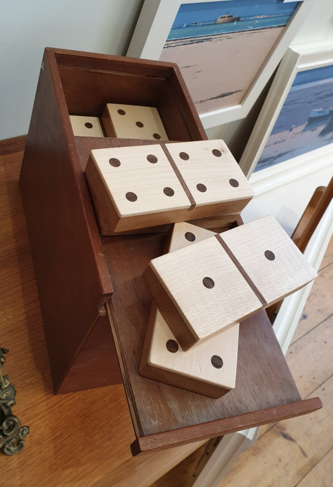 Large hand made wooden Dominoes in box