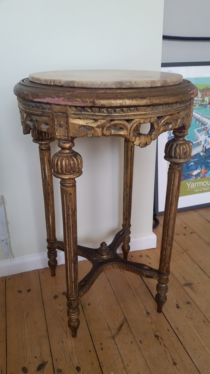 Gilt Pedestal side Table with Marble top.
