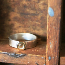Chunky Mens Ring with Brass Nut