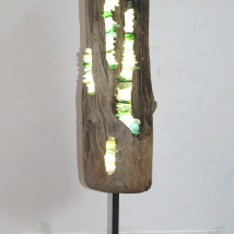 Coastal Driftwood and Seaglass Light Sculpture